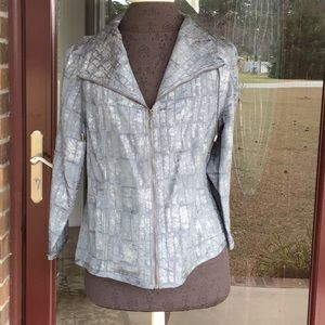 Ruby Rd. Zip Front Gray Jacket, size 14